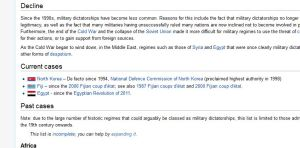 Screen Shot of the Military Dictatorship page on Wikipedia